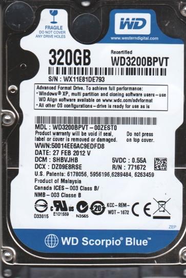 WD3200BPVT-00ZEST0, DCM SHBVJHB, Western Digital 320GB SATA 2.5 Hard Drive