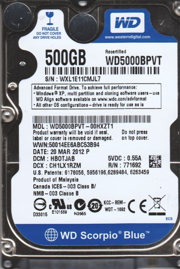 WD5000BPVT-00HXZT1, DCM HBOTJAB, Western Digital 500GB SATA 2.5 Hard Drive