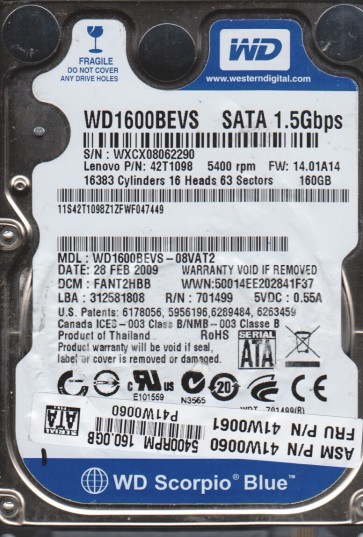 WD1600BEVS-08VAT2, DCM FANT2HBB, Western Digital 160GB SATA 2.5 Hard Drive