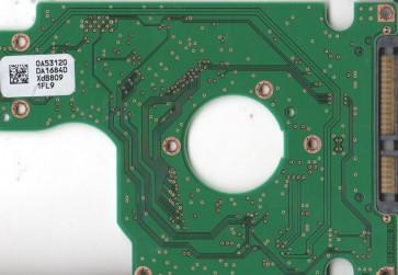 HTS542525K9SA00, 0A53120 DA1684D, PN 0A54906, Hitachi 250GB SATA 2.5 PCB