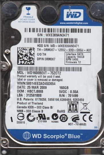 WD1600BEVT-75ZCT2, DCM HBCTJBBB, Western Digital 160GB SATA 2.5 Hard Drive
