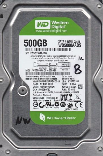 WD5000AADS-00S9B0, DCM HBNNHV2AGN, Western Digital 500GB SATA 3.5 BSectr HDD