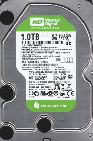WD10EARS-00Y5B1, DCM HBNNNT2CH, Western Digital 1TB SATA 3.5 BSectr HDD