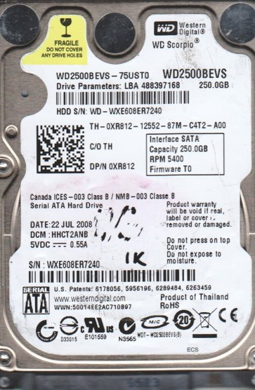 WD2500BEVS-75UST0, DCM HHCT2ANB, Western Digital 250GB SATA 2.5 BSectr HDD