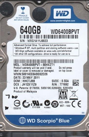 WD6400BPVT-80HXZT1, DCM HHCTJBB, Western Digital 640GB SATA 2.5 BSectr HDD