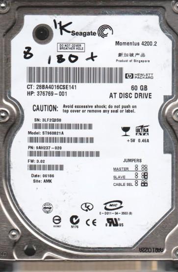 ST960821A, 3LF, AMK, PN 9AH237-020, FW 3.02, Seagate 60GB IDE 2.5 BSectr HDD