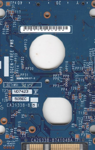 MHV2120BH PL, PN CA06672-B216000L, Fujitsu 120GB SATA 2.5 PCB