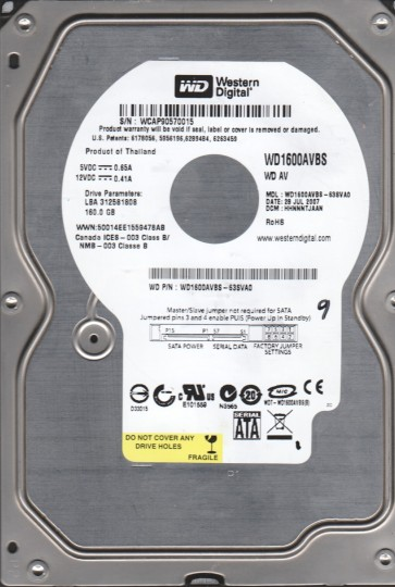 WD1600AVBS-63SVA0, DCM HHNNNTJAAN, Western Digital 160GB SATA 3.5 Hard Drive