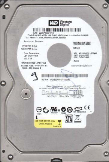 WD1600AVBS-63SVA0, DCM EHRNHTJAAN, Western Digital 160GB SATA 3.5 Hard Drive