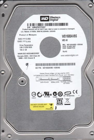WD1600AVBS-63SVA0, DCM EANNHT2CA, Western Digital 160GB SATA 3.5 Hard Drive
