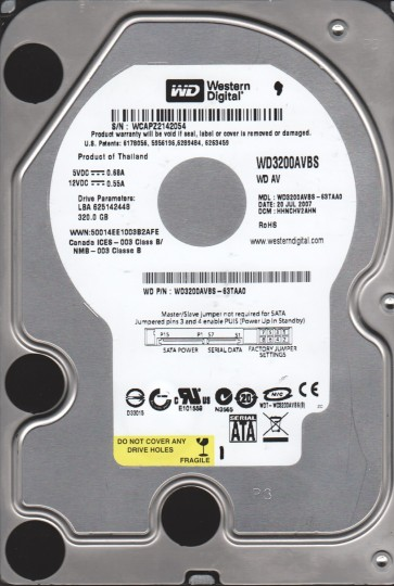 WD3200AVBS-63TAA0, DCM HHNCHV2AHN, Western Digital 320GB SATA 3.5 Hard Drive