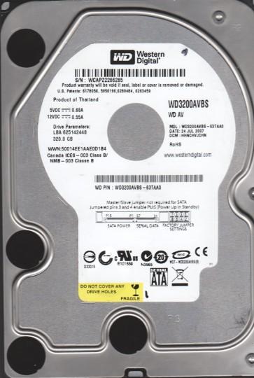 WD3200AVBS-63TAA0, DCM HHNCHVJCHN, Western Digital 320GB SATA 3.5 Hard Drive