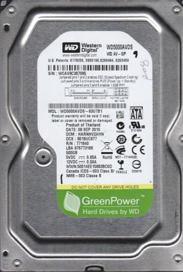 WD5000AVDS-63U7B1, DCM HARNHV2AHN, Western Digital 500GB SATA 3.5 Hard Drive