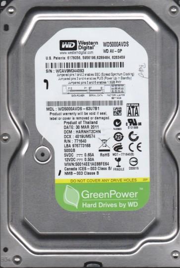 WD5000AVDS-63U7B1, DCM HARNHT2CHN, Western Digital 500GB SATA 3.5 Hard Drive