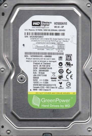 WD5000AVVS-63M8B0, DCM HANNNT2AHB, Western Digital 500GB SATA 3.5 Hard Drive