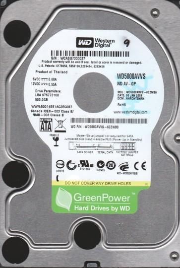 WD5000AVVS-63ZWB0, DCM HHRCHT2MAN, Western Digital 500GB SATA 3.5 Hard Drive