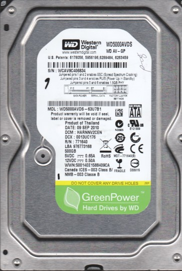 WD5000AVDS-63U7B1, DCM HARNNV2CEN, Western Digital 500GB SATA 3.5 Hard Drive