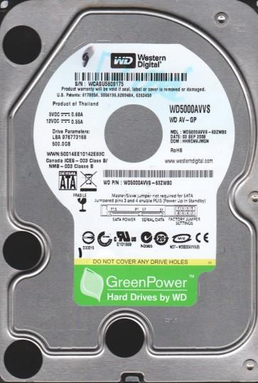 WD5000AVVS-63ZWB0, DCM HHRCHTJMBN, Western Digital 500GB SATA 3.5 Hard Drive