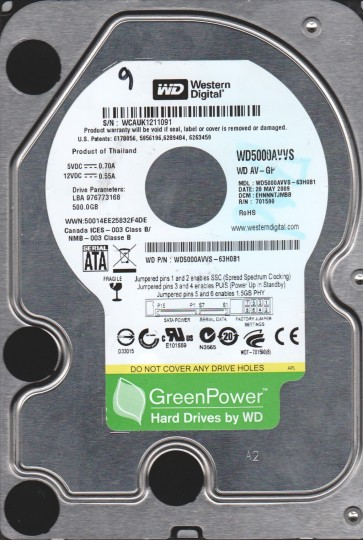 WD5000AVVS-63H0B1, DCM EHNNNTJMBB, Western Digital 500GB SATA 3.5 Hard Drive