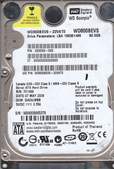 WD800BEVS-22VAT0, DCM DACVJBBB, Western Digital 80GB SATA 2.5 Hard Drive