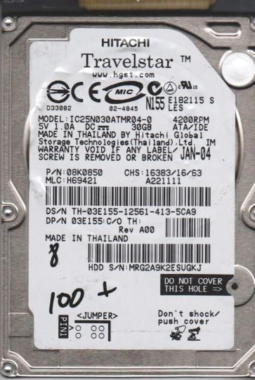 IC25N030ATMR04-0, PN 08K0850, MLC H69421, Hitachi 30GB IDE 2.5 BSectr HDD