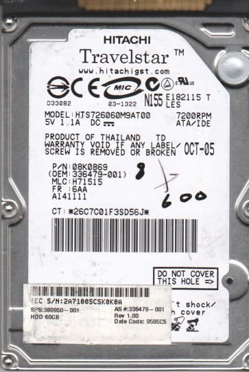 HTS726060M9AT00, PN 08K0869, MLC H71515, Hitachi 60GB IDE 2.5 BSectr HDD