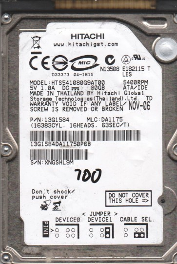HTS541080G9AT00, PN 13G1584, MLC DA1175, Hitachi 80GB IDE 2.5 BSectr HDD