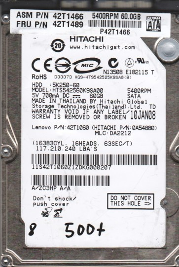 HTS542560K9SA00, PN 0A54880, MLC DA2212, Hitachi 60GB SATA 2.5 BSectr HDD