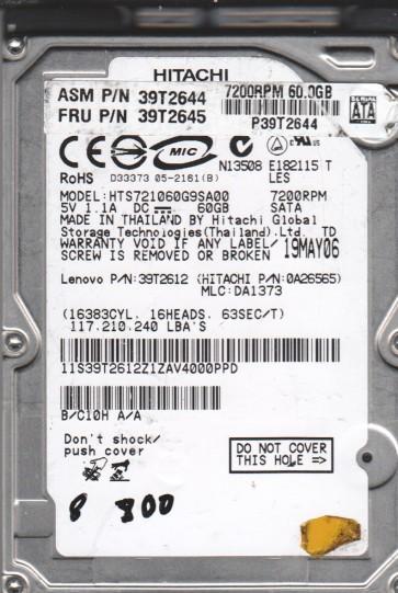 HTS721060G9SA00, PN 0A26565, MLC DA1373, Hitachi 60GB SATA 2.5 BSectr HDD