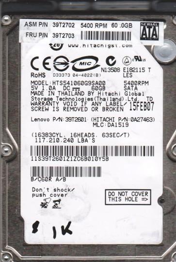 HTS541060G9SA00, PN 0A27463, MLC DA1519, Hitachi 60GB SATA 2.5 BSectr HDD