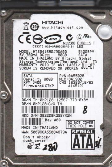 HTS541680J9SA00, PN 0A55028, MLC DA1982, Hitachi 80GB SATA 2.5 BSectr HDD