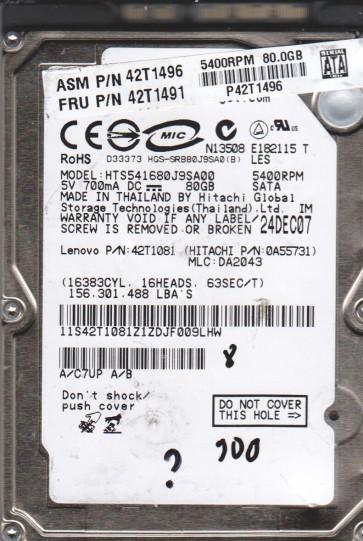 HTS541680J9SA00, PN 0A55731, MLC DA2043, Hitachi 80GB SATA 2.5 BSectr HDD