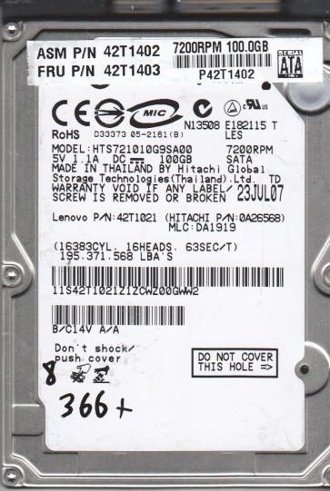 HTS721010G9SA00, PN 0A26568, MLC DA1919, Hitachi 100GB SATA 2.5 BSectr HDD