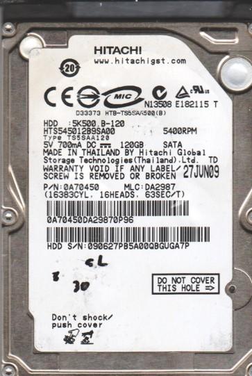 HTS545012B9SA00, PN 0A70450, MLC DA2987, Hitachi 120GB SATA 2.5 BSectr HDD