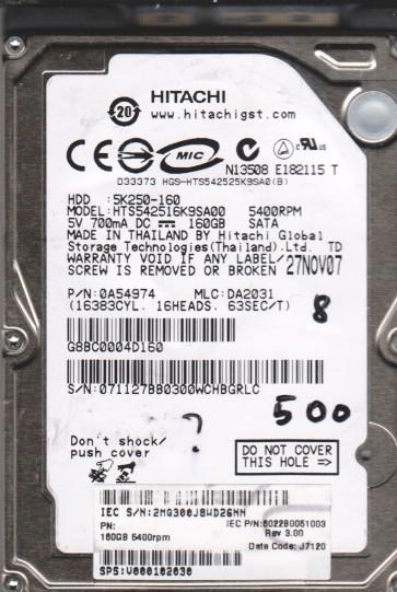 HTS542516K9SA00, PN 0A54974, MLC DA2031, Hitachi 160GB SATA 2.5 BSectr HDD