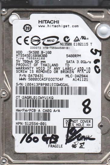 HTS545016B9A300, PN 0A70431, MLC DA2944, Hitachi 160GB SATA 2.5 BSectr HDD