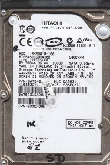 HTS545016B9A300, PN 0A70421, MLC DA2831, Hitachi 160GB SATA 2.5 BSectr HDD