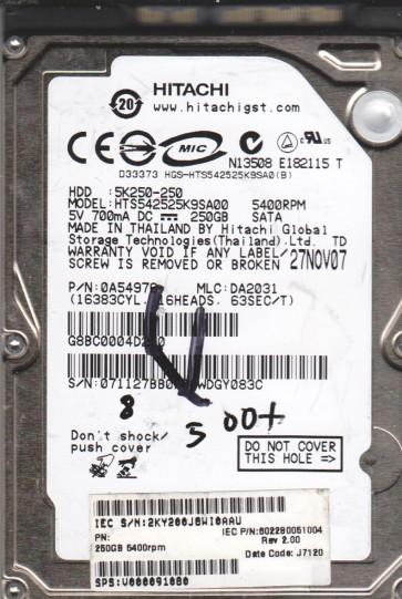 HTS542525K9SA00, PN 0A54976, MLC DA2031, Hitachi 250GB SATA 2.5 BSectr HDD