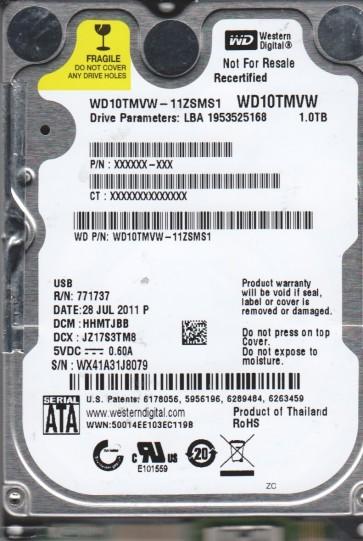 WD10TMVW-11ZSMS1, DCM HHMTJBB, Western Digital 1TB USB 2.5 Hard Drive