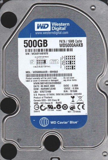 WD5000AAKB-00H8A0, DCM HARNNTJCHB, Western Digital 500GB IDE 3.5 Hard Drive