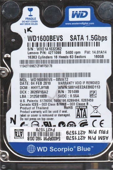 WD1600BEVS-08VAT2, DCM HHYTJHNB, Western Digital 160GB SATA 2.5 BSectr HDD