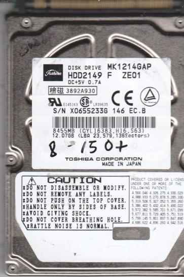 MK1214GAP, E0/N0.11A, HDD2149 F ZE01, Toshiba 12.07GB IDE 2.5 BSectr HDD