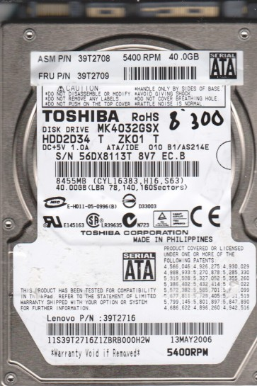 MK4032GSX, B1/AS214E, HDD2D34 T ZK01 T, Toshiba 40GB SATA 2.5 BSectr HDD