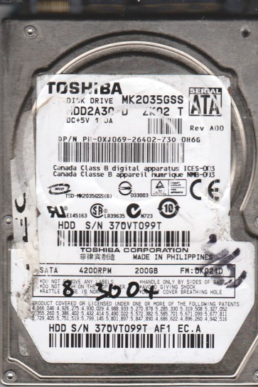 MK2035GSS, DK021D, HDD2A30 D ZK02 T, Toshiba 200GB SATA 2.5 BSectr HDD