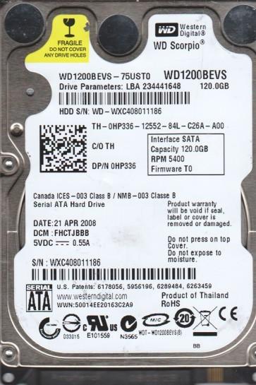 WD1200BEVS-75UST0, DCM FHCTJBBB, Western Digital 120GB SATA 2.5 Hard Drive