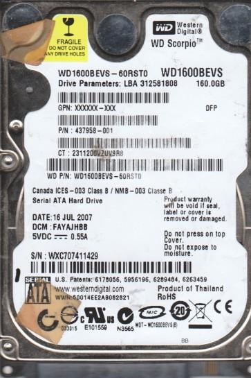 WD1600BEVS-60RST0, DCM FAYAJHBB, Western Digital 160GB SATA 2.5 Hard Drive