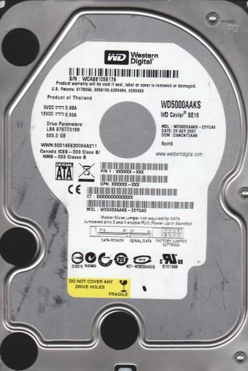 WD5000AAKS-22YGA0, DCM DANCNT2AAB, Western Digital 500GB SATA 3.5 Hard Drive
