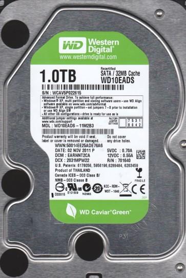WD10EADS-11M2B3, DCM EARNNT2CA, Western Digital 1TB SATA 3.5 Hard Drive