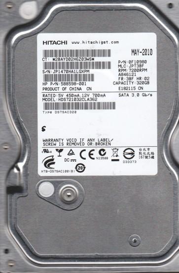 HDS721032CLA362, PN 0F10980, MLC JPT3BF, Hitachi 320GB SATA 3.5 Hard Drive