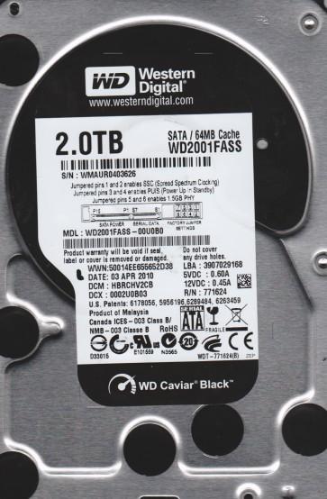 WD2001FASS-00U0B0, DCM HBRCHV2CB, Western Digital 2TB SATA 3.5 Hard Drive